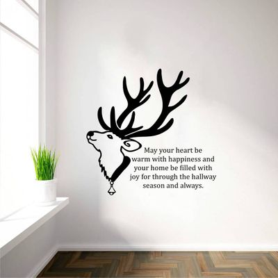 Multicoloured Deer And Christmas New Year Quotes Vinyl Wall Stickers