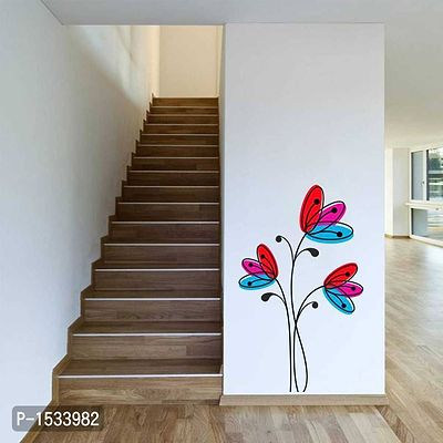 Multicoloured Colorfull Flowers Drawings Vinyl Wall Stickers