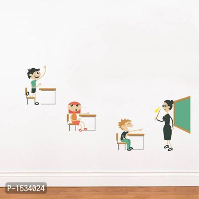 Multicoloured Teacher And Students Vinyl Wall Stickers