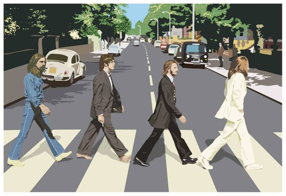Multicoloured The Beatles Drawing Wall Poster