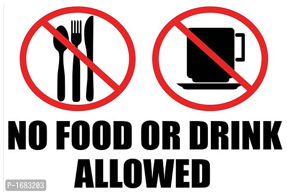 Multicoloured No Food Or Drink Allowed Wall Poster