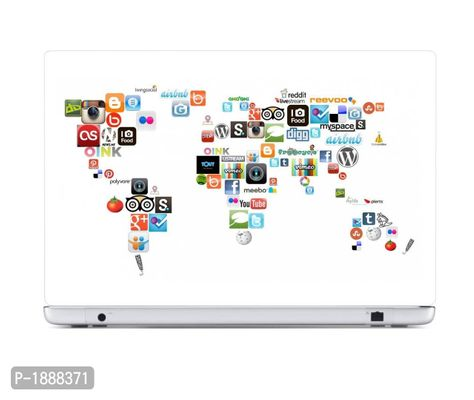 Social Media Icon  Map Laptop Skin Stickers