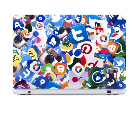 Social Media Icons Stickers Laptop Skin Stickers