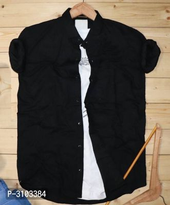 Men's Black Cotton Solid Slim Fit Long Sleeves Casual Shirt