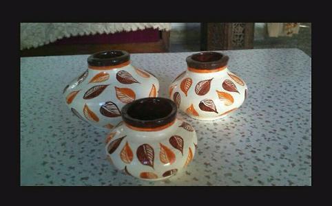 Hand painted Terracotta Pots : set of 3 pcs