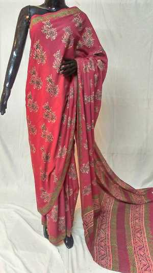 pure cotton mul Ajrakh hand block print sarees with vegetable dye. 6.5 meters with blouse