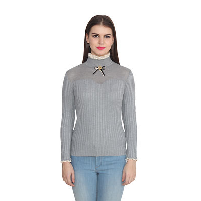 Grey Woven Design Polo Neck Tees Top