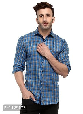 Blue Checked Long Sleeves Casual Shirt
