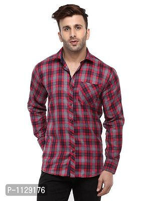 Red Checked Long Sleeves Casual Shirt