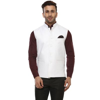 White Blended  Nehru Jackets