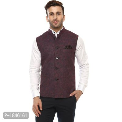 Multicoloured Blended  Nehru Jackets