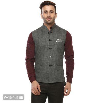 Grey Blended  Nehru Jackets