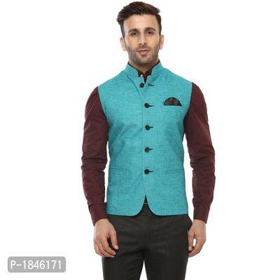 Turquoise Blended  Nehru Jackets