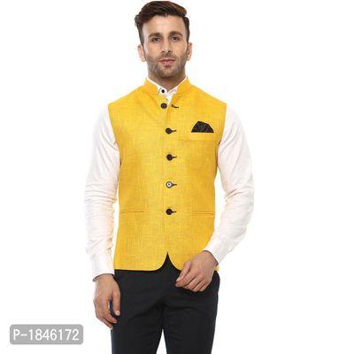 Yellow Blended  Nehru Jackets