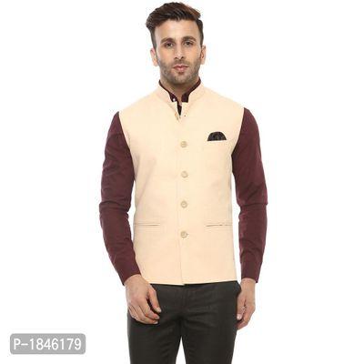 Beige Blended  Nehru Jackets