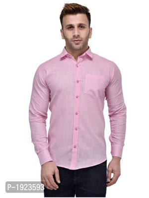 Pink Cotton Blend Solid Slim Fit Casual Shirt