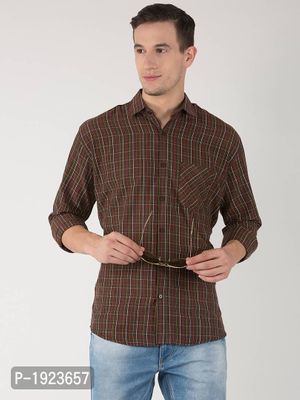 Multicoloured Cotton Blend Checked Slim Fit Casual Shirt