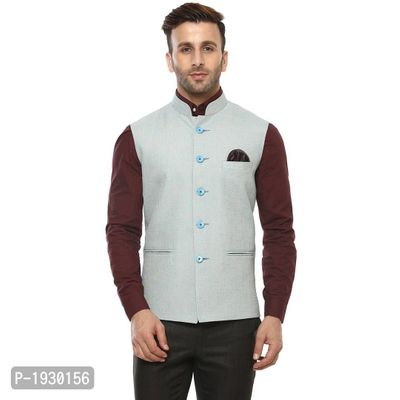 Blue Blended  Nehru Jackets