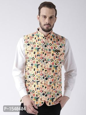Multicoloured Abstract Print Nehru Jacket