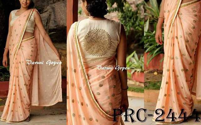 D NO-PRC 2444.SAREE FABRIC -GEORGETTE BEAUTIFUL SEQUENCE WORK.