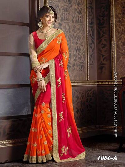 georgette saree with embroidery work