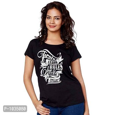 Black Printed Learn The Rules And Then Break Them Tee For Adult Sister