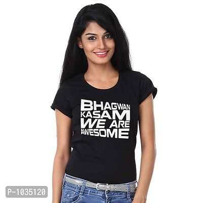 Black Printed We Are Awesome Tee For Women