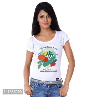 White Printed Stay Healthy Eat Healthy Tees
