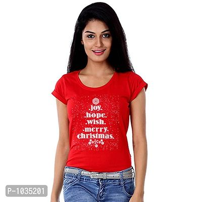 Red Printed Joy, Hope, Wish Tees For Mother