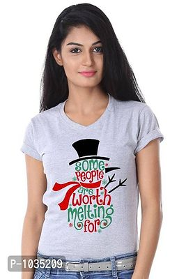 Grey Printed Some People Are Worth Melting Single Tee For Women