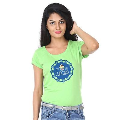 Green Printed I Am His Cupcake Tee For Women