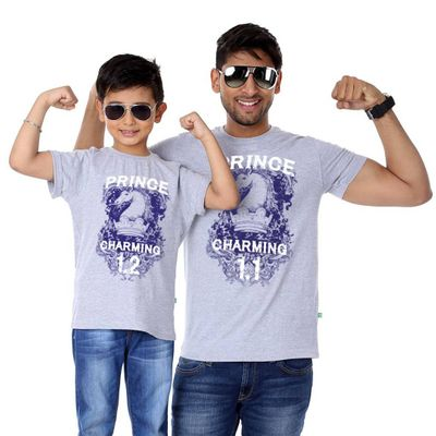 Grey Melange Prince Charming Father Son Tees Combo