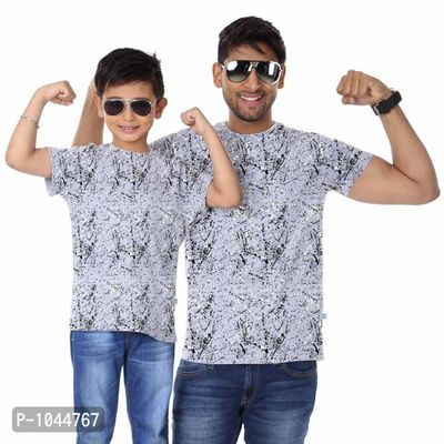 Grey Melange Splash Black & White Father Son Tees Combo