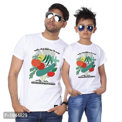 White Stay Eat Healthy Father Son Tees Combo