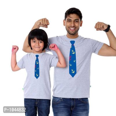 Grey Melange Tie Print Father Son Tees Combo