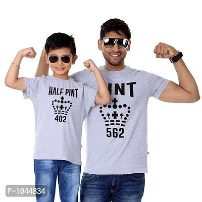 Grey Melange Pint Father Son Tees Combo