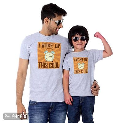 Grey Melange Woke Up This Cool Father Son Tees Combo