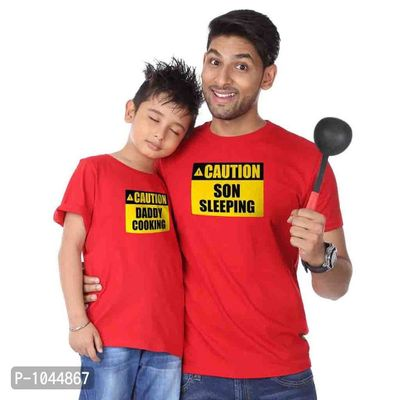 Red Cooking/Sleeping Father Son Tees Combo