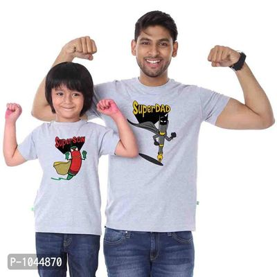 Grey Melange Super Father Son Tees Combo
