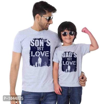 Grey Melange First Love Father Son Tees Combo