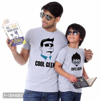 Grey Melange Cool/Cute Geek Father Son Tees Combo