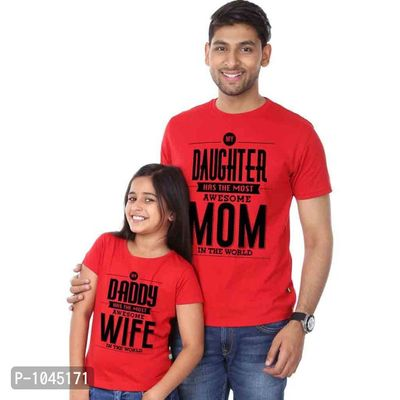Red Most Awesome Mom Most Awesome Dad Tees Combos
