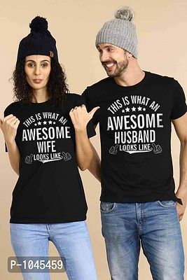 Black Awesome Husband And Wife,Matching Couples Valentines Day Tees
