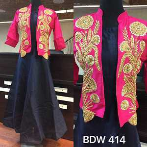 BDW 414  Silk designer gown with jacket with heavy machine embroidery and hand work.