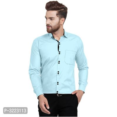 Men's Blue Cotton Solid Long Sleeves Slim Fit Casual Shirt
