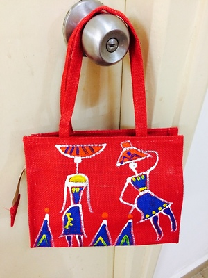 Jute small hand painted bag