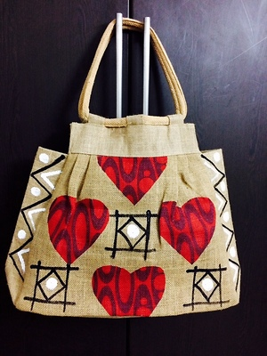 Hand painted jute hand bag