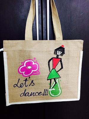 Hand bag jute with hand paint