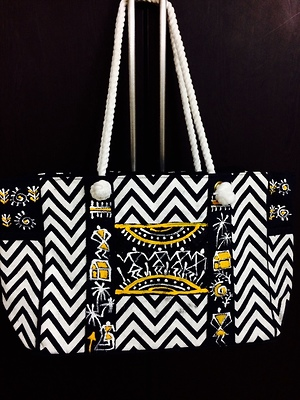 Black hand painted hand bag