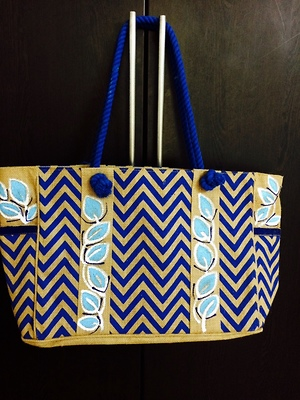 Designer hand painted hand bag
